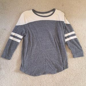 Lucky Brand Gray and White 3/4 sleeve